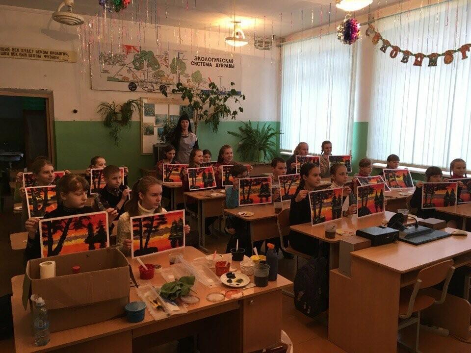Для учащихся Пореченской школы провели мастер класс по рисованию пейзажей, фото-4